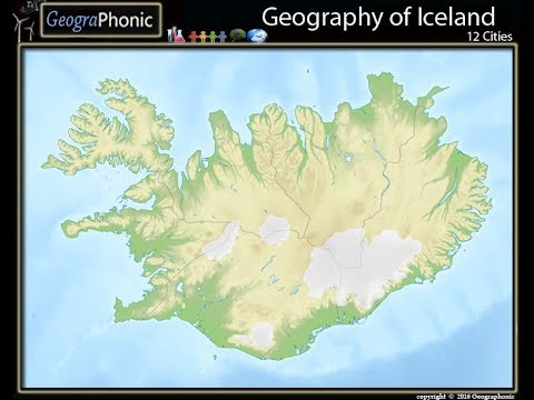 Geography of Iceland, the largest cities of Iceland, Icelandic map