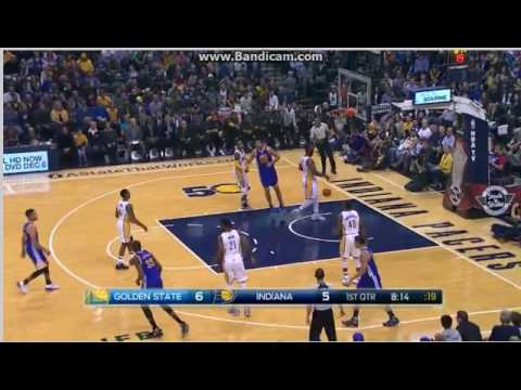 Curry nice assist to Green for dunk - Indiana Pacers vs ...