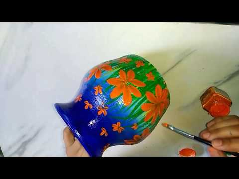 easy one stroke pot painting idea. pot painting ideas for beginners.