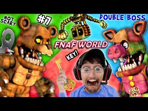 FNAF WORLD 7: DOUBLE MONSTER BATTLE Mega Porkpatch & Bubba fight FGTEEV Dudda Got My 1st KEY