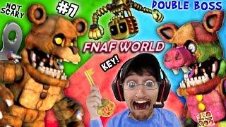 FNAF WORLD #7: DOUBLE MONSTER BATTLE! Mega Porkpatch & Bubba fight FGTEEV Dudda! (Got My 1st KEY!)