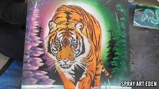 """Tigre amarillo SPRAY PAINT ART por """"Spray Art Eden"""""""
