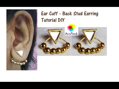 How To make Back Stud Earring Beaded | Eye Pin | I Pin | Ear Cuff | Tutorial | DIY | At Home