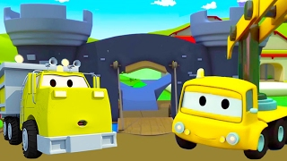Construction Squad: the Dump Truck, the Crane and the Excavator build The Knight Fort in Car City 🏰