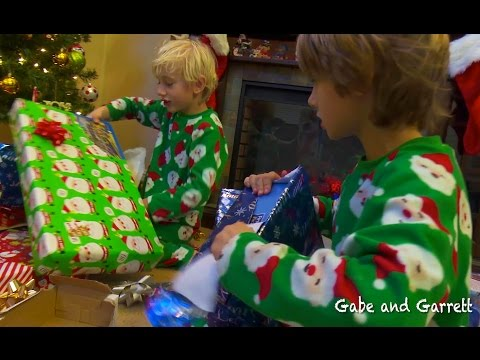 Christmas Morning 2014  Gabe and Garrett Opening Presents!