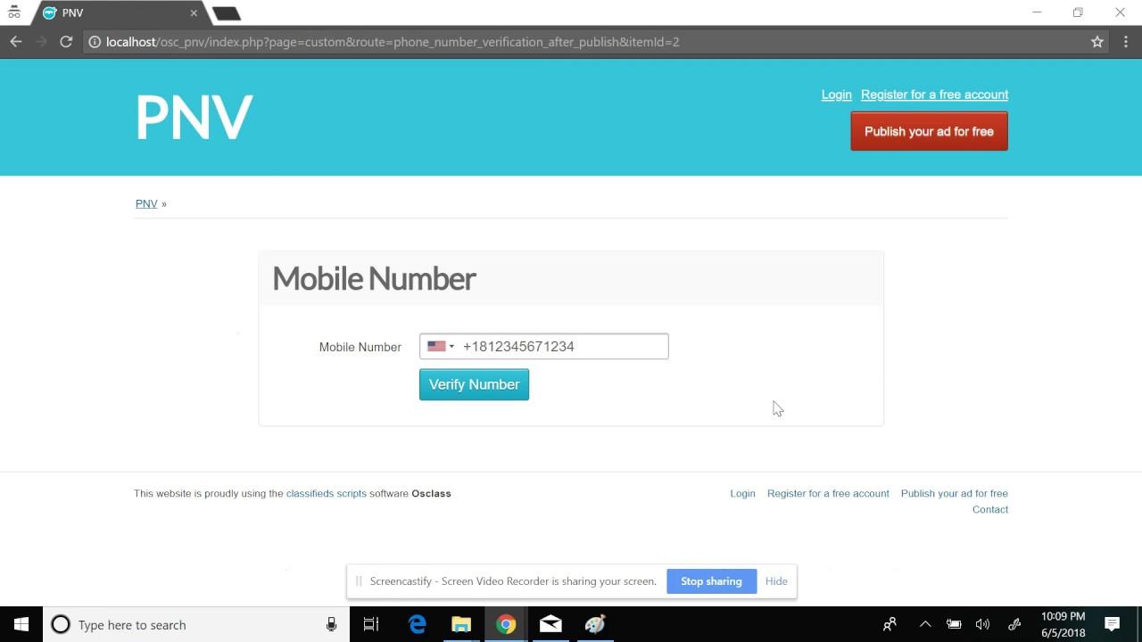 Phone Number Verification plugin for Osclass - Demo