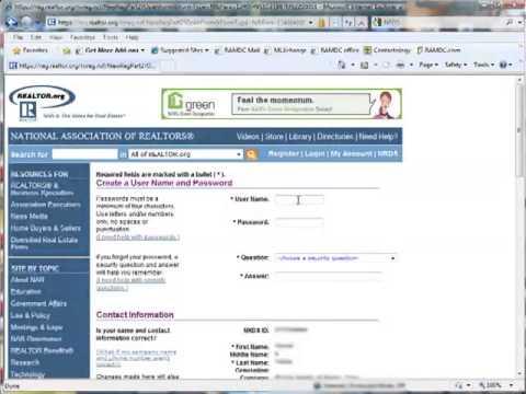 Register with National Association of Realtors • Realtors.org Video Tutorial
