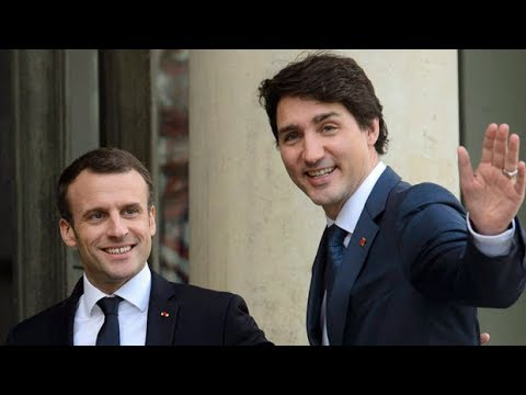 Justin Trudeau holds news conference with French President Emmanuel Macron