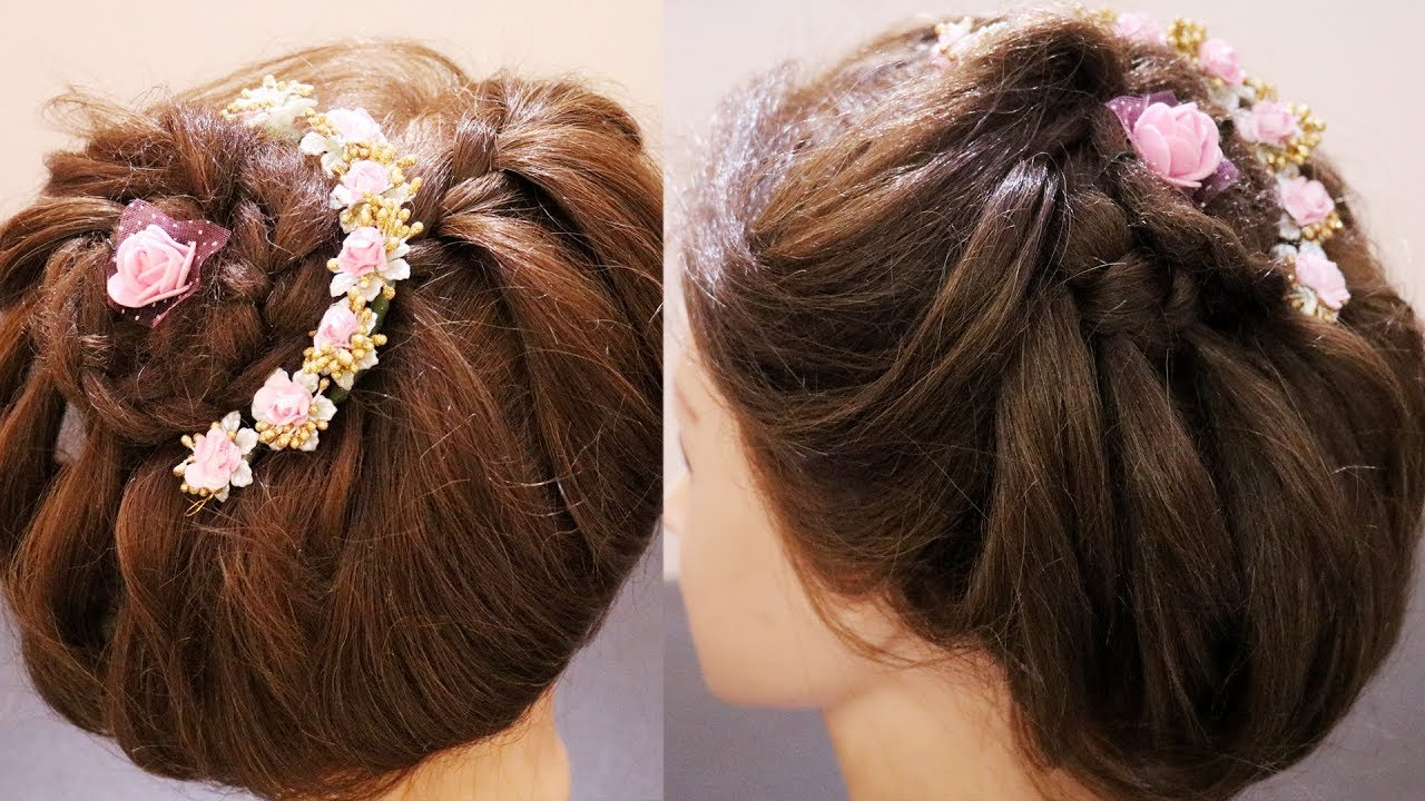 Trendy Party Hairstyle For Saree Hairstyle For Round Face Ladies Integrators