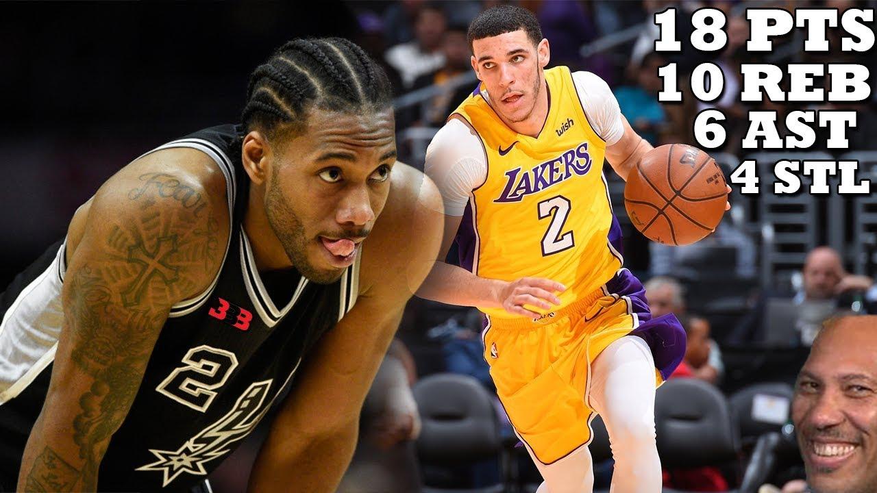Lonzo Ball DESTROYS Kawhi Leonard-less Spurs!! Lakers vs Spurs - YouTube 8ec6ed888