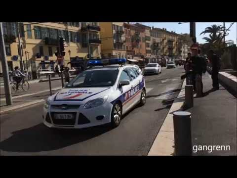 3x French police cars responding urgently // Police nationale & municipale en intervention