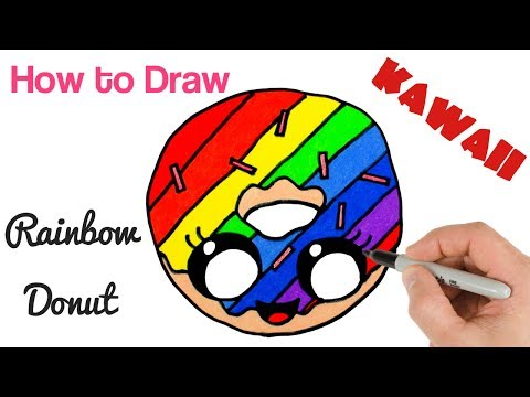 How to Draw Rainbow Donut Cute and Kawaii Food Drawings for Kids