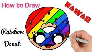 kawaii drawings rainbow donut draw beginners