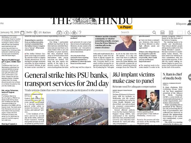 10 January 2019 - IMPORTANT HEADLINES The Hindu Current Affairs  - Mrs. Bilquees Khatri