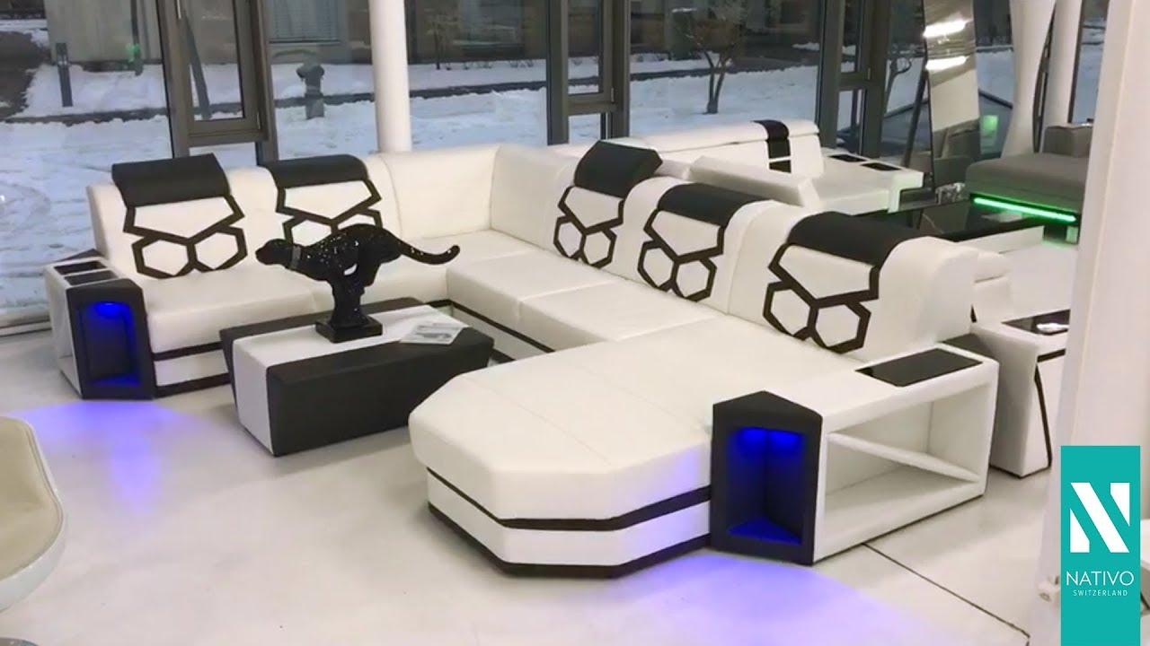 nativo mobilier france canap design en cuir avec clairage led aventador xxl - Canape Design Led