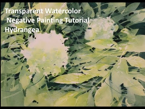 Transparent Watercolor Negative Painting Tutorial, Hydrangea