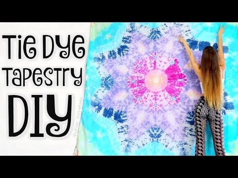 DIY TAPESTRY - Mandala Bed Sheets Tie Dye - Star Tie-Dye Technique | SoCraftastic