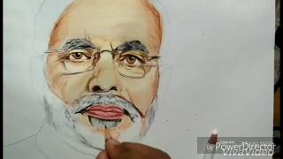 How to do colour sketch step by step (Narendra Modi colour sketch)