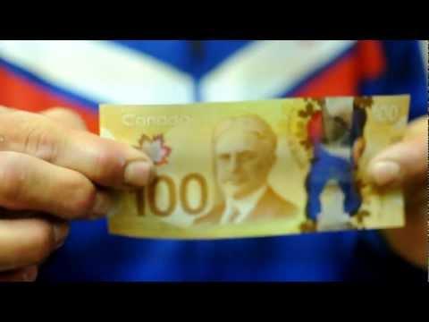 Canada's New $100 Hundred Dollar Bill!  Waterproof? Plastic Money!