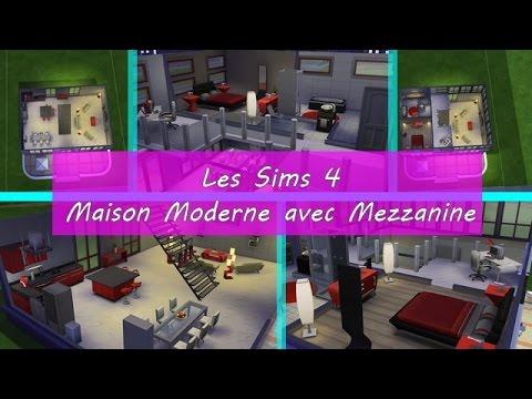 Les Sims 4 - Maison moderne avec mezzanine - YouTube