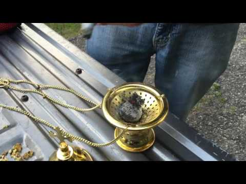 How to prepare and use a hanging incense burner (censor) with frankincense