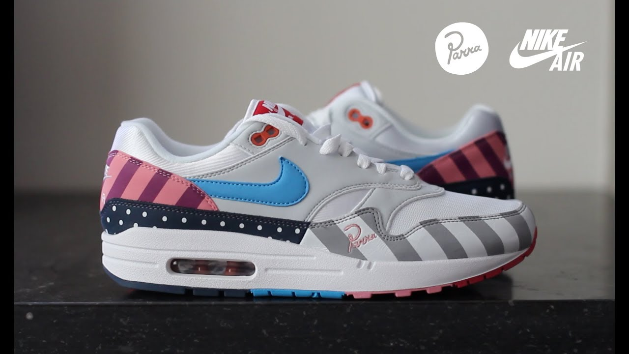 finest selection fee53 db75a Unboxing and On Foot Review: Nike Air Max 1 'Parra' White/Multi 2018 Release