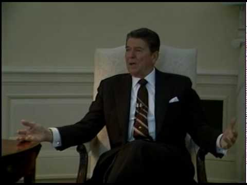 President Reagan during a Foreign Press Interview in the Oval Office on May 31, 1984