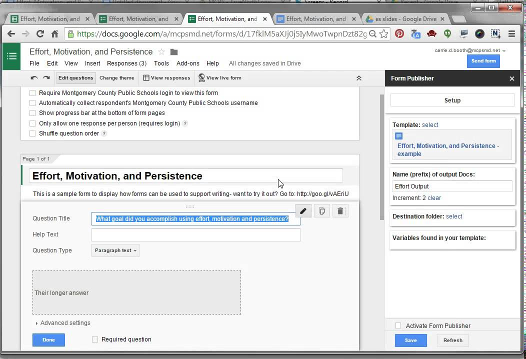 Forms- how to publish to a google doc with Form Publisher! - YouTube
