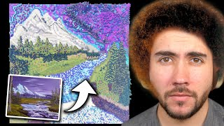 Forcing 100 People To Recreate A Bob Ross Painting