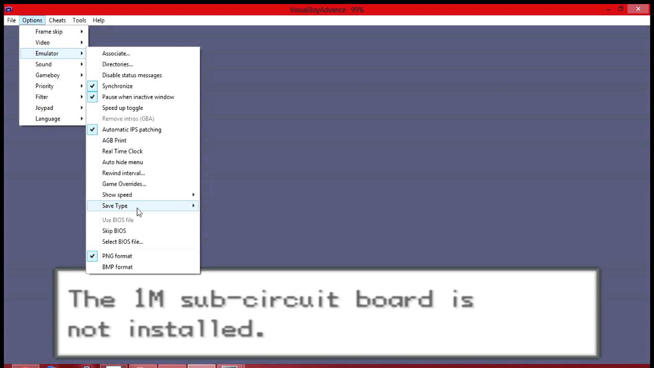 the 1m sub-circuit board is not installed emulator