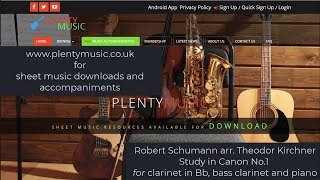 Schumann R. arr. Kirchner T. |  Study in Canon No.1 for clarinet in Bb, bass clarinet and piano