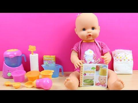 La Bebé Nenuco Merienditas hace popó   La Bebé está malita   Accesorios de Nenuco en español