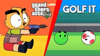 MINI ANIMACIÓN DIVERTIDA!  GOLF IT Y GTA V! xFaRgAnx