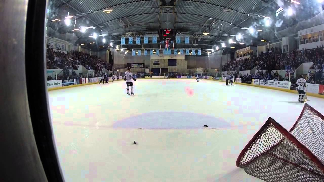 Kowalski throws the net off, Coventry Blaze vs Nottingham Panthers 02/02/2014