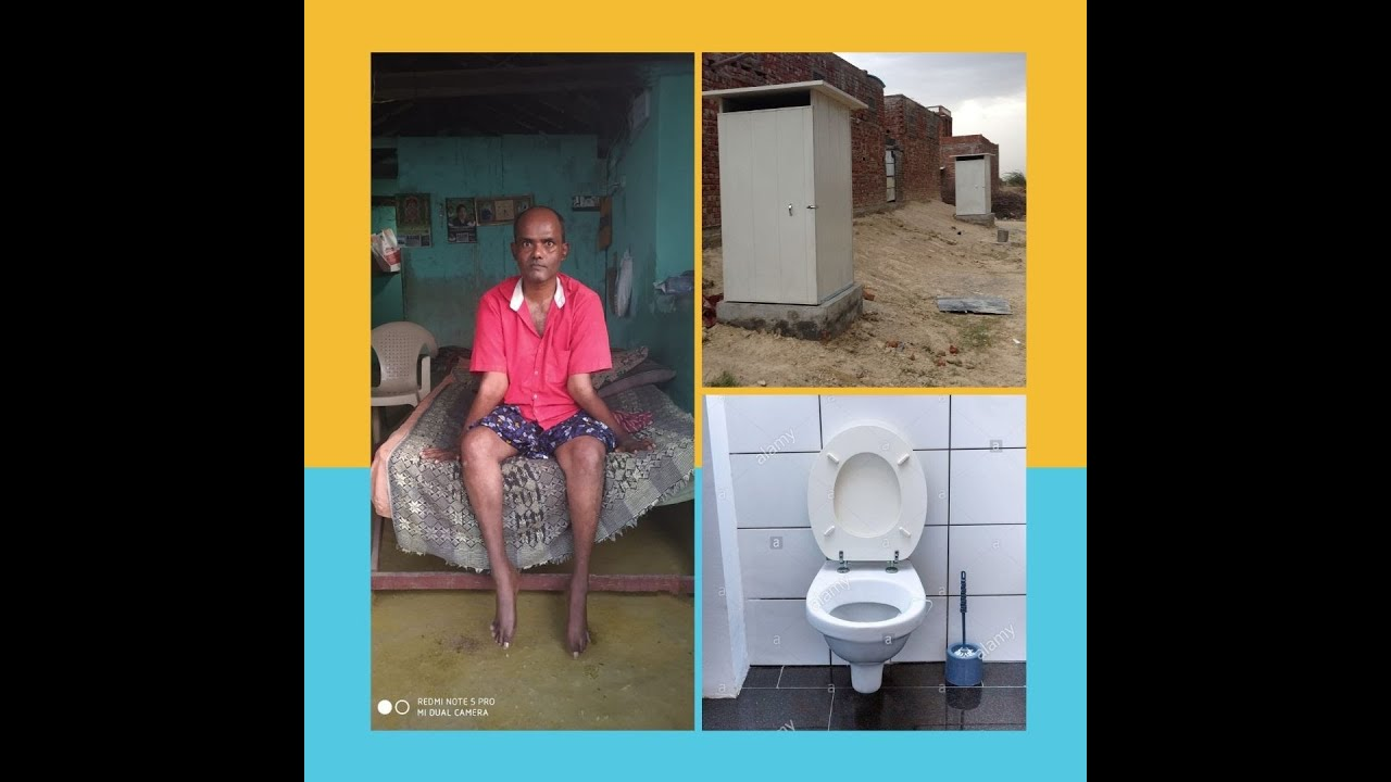 A poor paralyses cum deaf person  to  build new toilet and donors from Deaf people in India