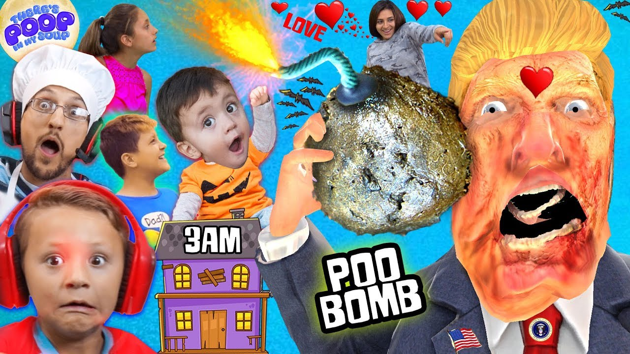OUR HAUNTED HOUSE w ZOMBIE DONALD TRUMP @ 3am! My Soup is BOMB! FGTEEV Halloween Gameplay Skit