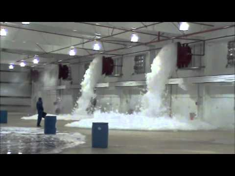 Landmark Sprinkler Aircraft Hangar Foam Fire Suppression Test