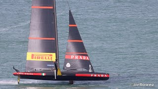 Auckland new zealand february 11, 2021. luna rossa prada pirelli team america's cup yacht out on the waitemata harbour testing some gear in preparation f...