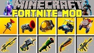 Minecraft FORTNITE MOD l NEW PORT A FORTRESS, GRAPPLER, GALAXY SKIN, GUNS & MORE! l Modded Mini-Game