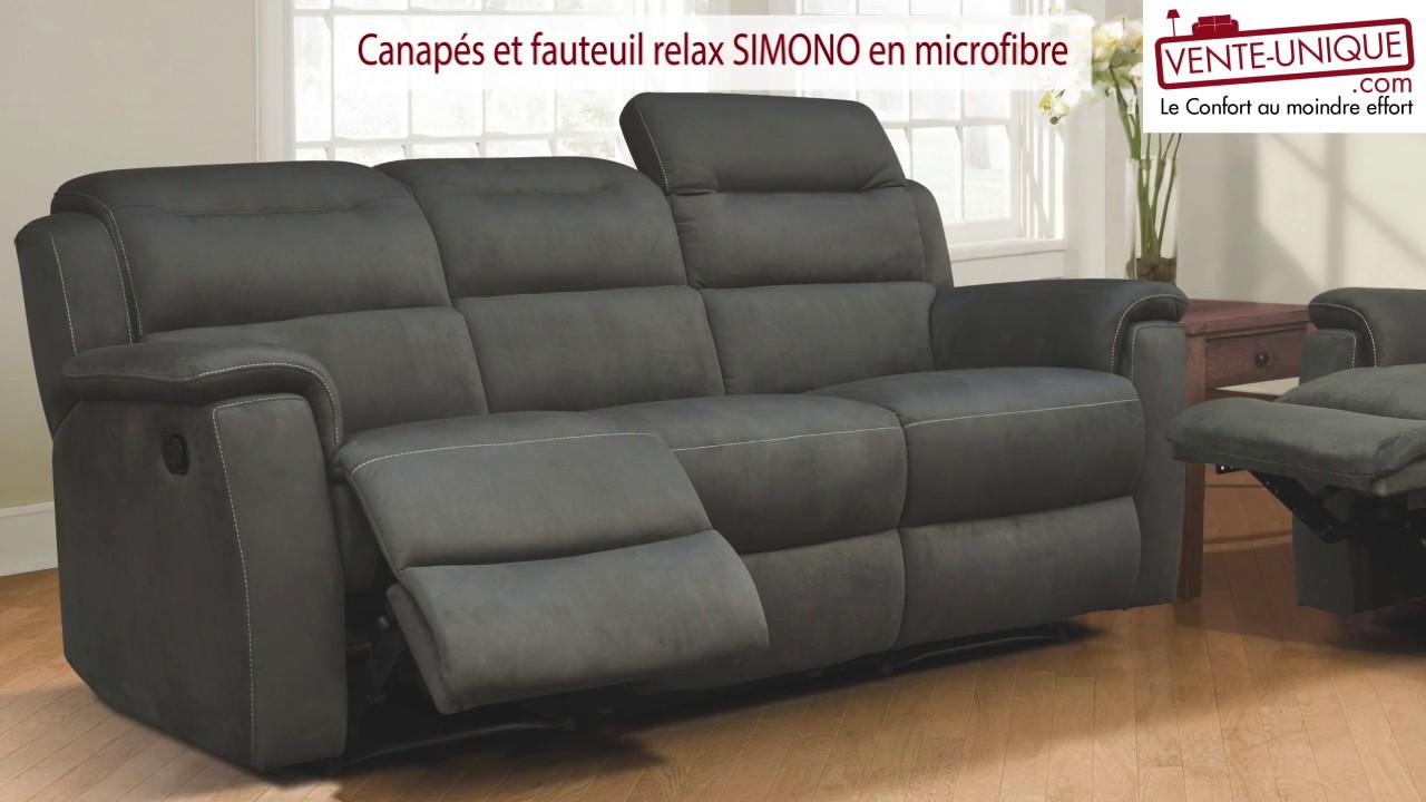 canap s et fauteuils relax en microfibre simono youtube. Black Bedroom Furniture Sets. Home Design Ideas