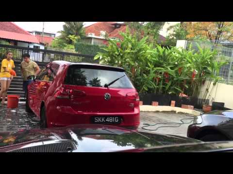Time lapse of car washing. Volkswagen Golf 7. Singapore. Meguiars Xpress wax