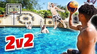 Crazy 2v2 Pool Mini Basketball Game + Trick Shots!