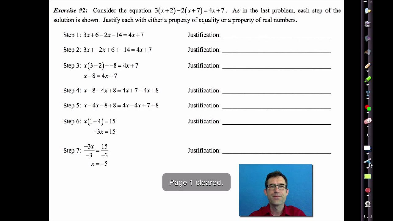 Common Core Algebra I Unit 2 Lesson 4 Justifying Steps In Solving An Equation