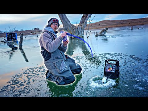 Ice Fishing A FLOODED Forrest FULL Of BIG FISH!!! (Underwater Footage)