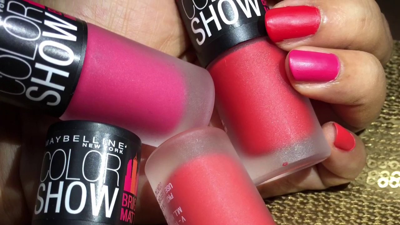 Maybelline New York Color Show Bright mattes swatches. - YouTube