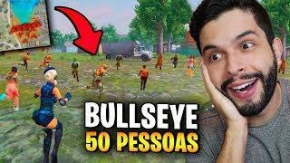 PLAYHARD VS. 50 JOGADORES NA NOVA ÁREA BULLSEYE DO FREE FIRE!!!