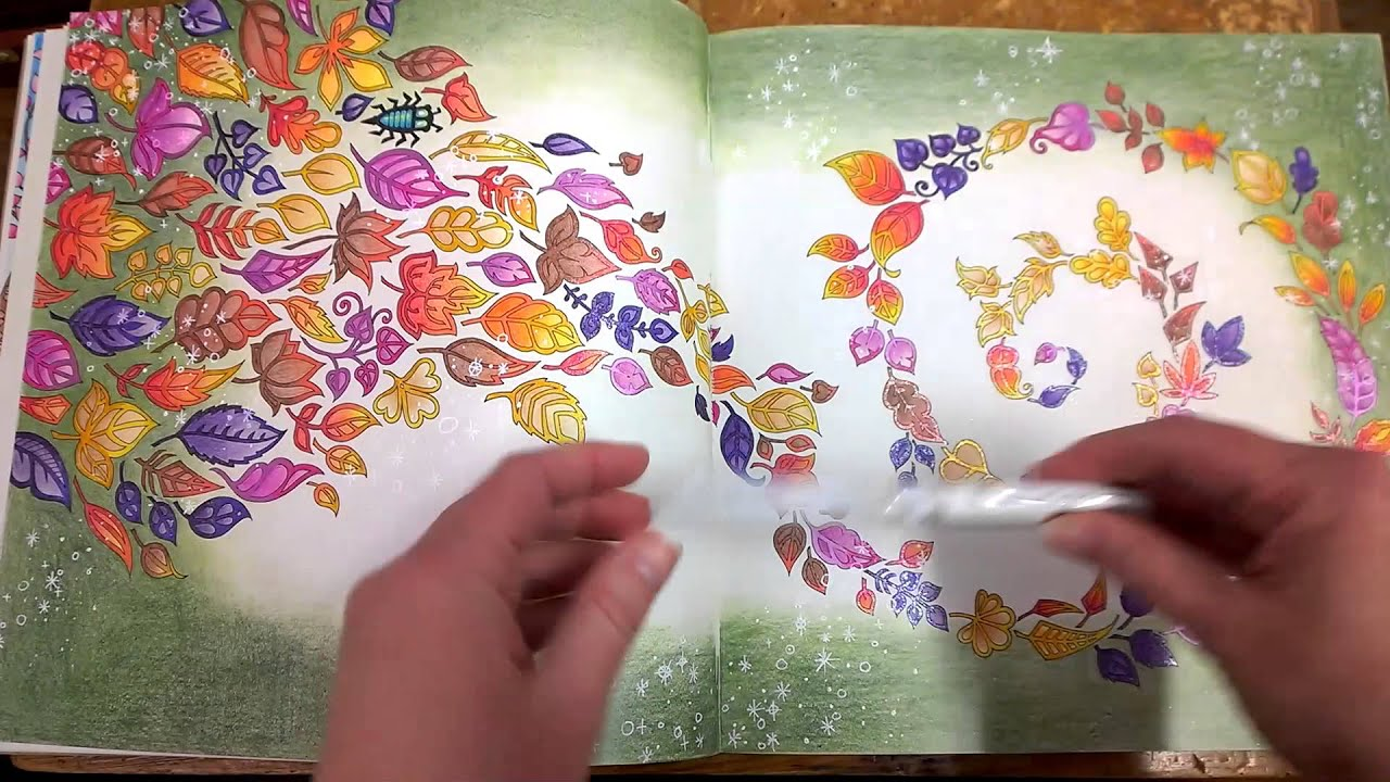 Colouring Book Enchanted Forest Walk through with tips and coloured ...