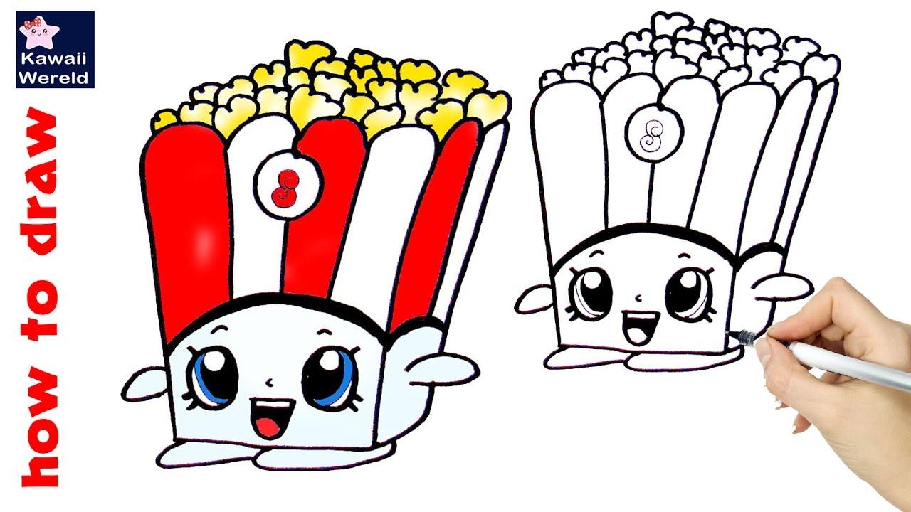 hoe teken je poppy popcorn kawaii how to draw shopkins