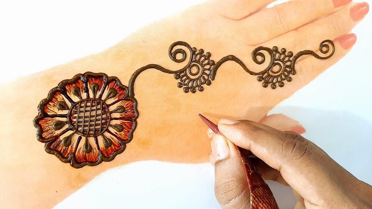 VERY BEAUTIFUL LATEST FLORAL ARABIC HENNA MEHNDI DESIGN FOR FRONT HAND    stylish mehndi with shawon
