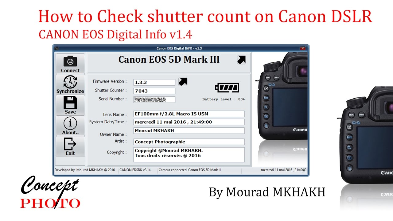 How to Check shutter count on Canon DSLRs, Tutoriel Canon eos digital info  v1 4